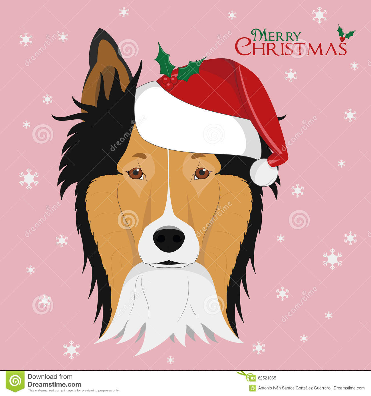 Collie Rough Dog With Red Santa`s Hat Stock Vector - Illustration of ...