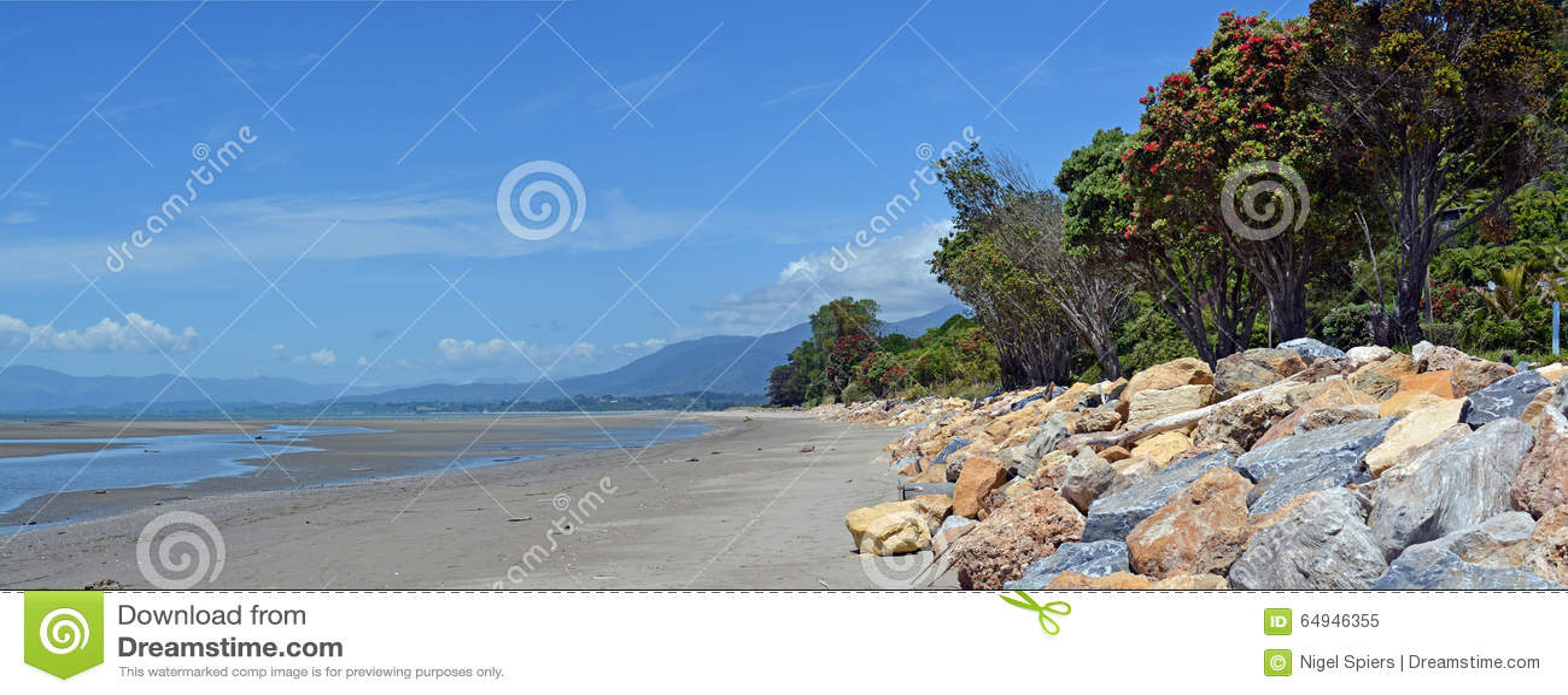 Collingwood plaża Przy Niskiego przypływu panoramą, Nowa Zelandia