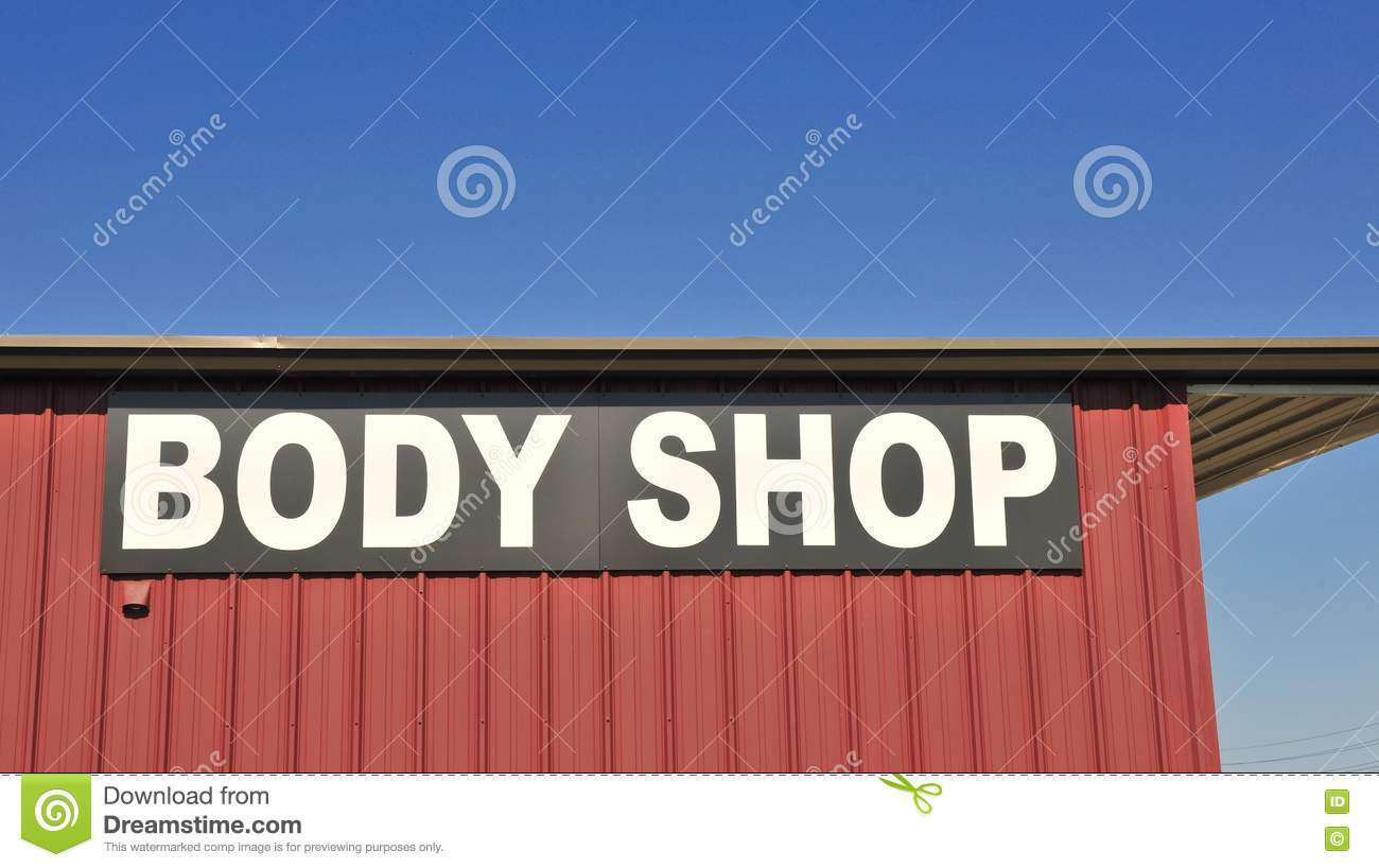 Utility Body Signs : Collision repair shop royalty free stock photography