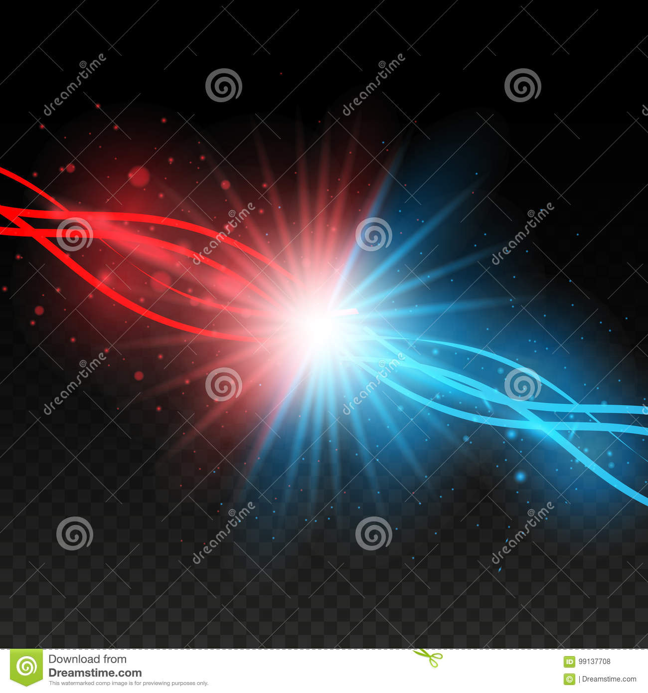 Download Collision Of Two Forces With Red And Blue Lights. Explosion  Concept. Isolated On