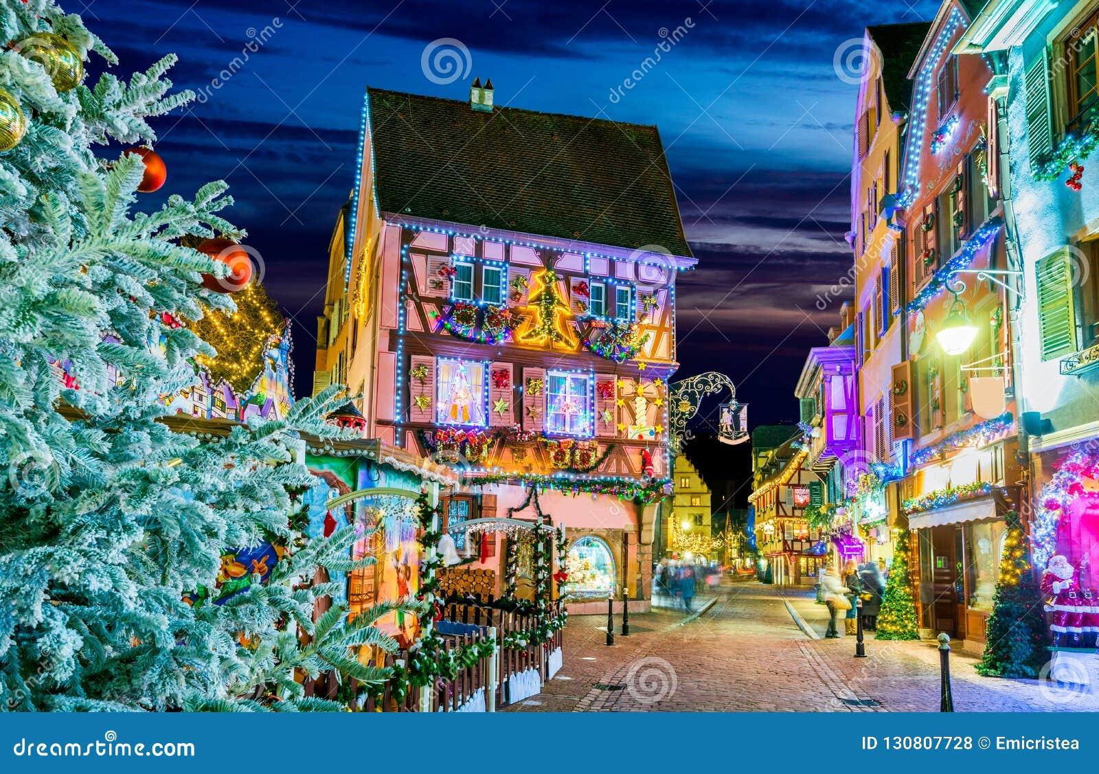 Colmar Christmas Market.Colmar Alsace Marche De Noel In France Stock Photo