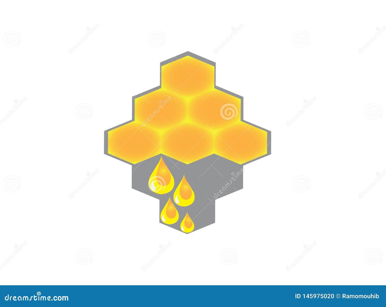 Colmena con descensos de la miel para el vector del diseño del logotipo, icono puro de la miel