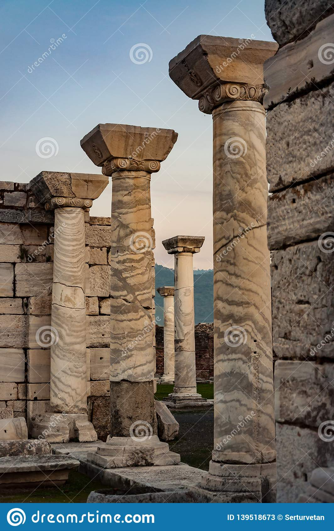 Colmnar part of temple in Ephesus, Turkey. The ancient city is listed as a UNESCO World Heritage Site