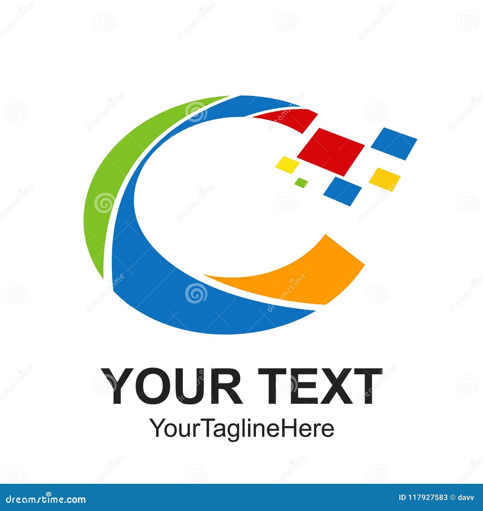 Colo för beståndsdel för mall för design för logo för initial bokstav C för Digital PIXEL