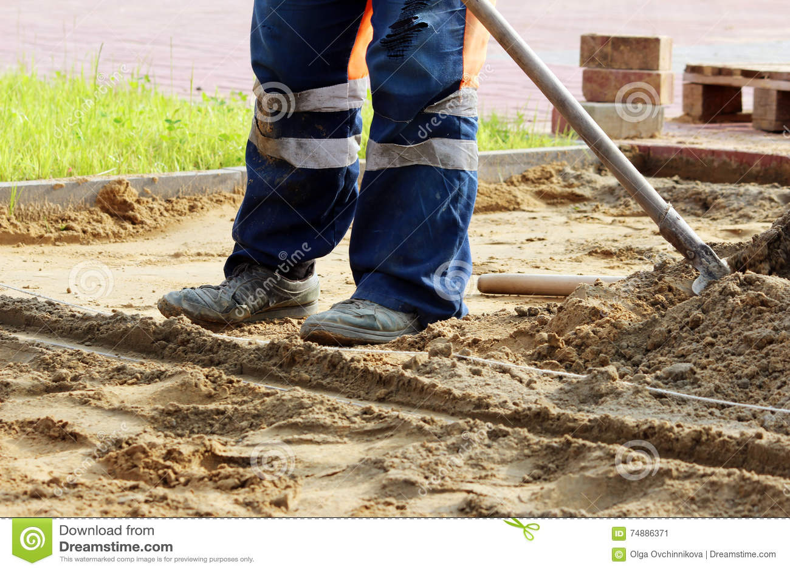 Colocação de pavimentos Reparando o passeio