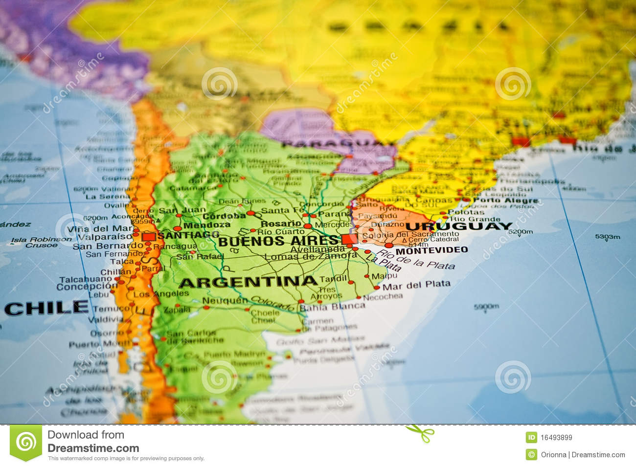 Coloful map of South America