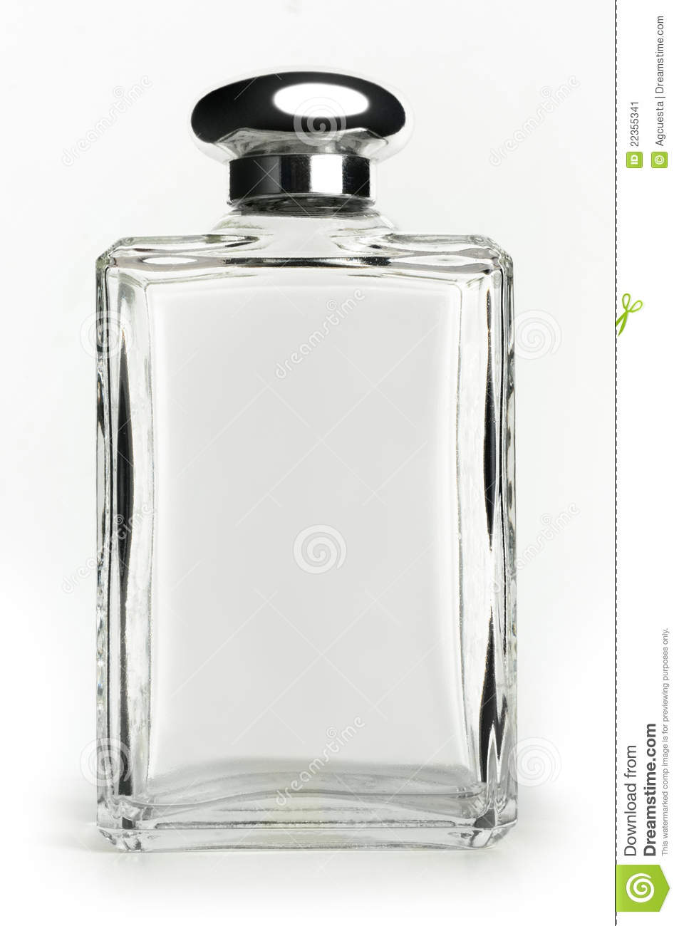 Empty perfume bottle isolated on white front view.