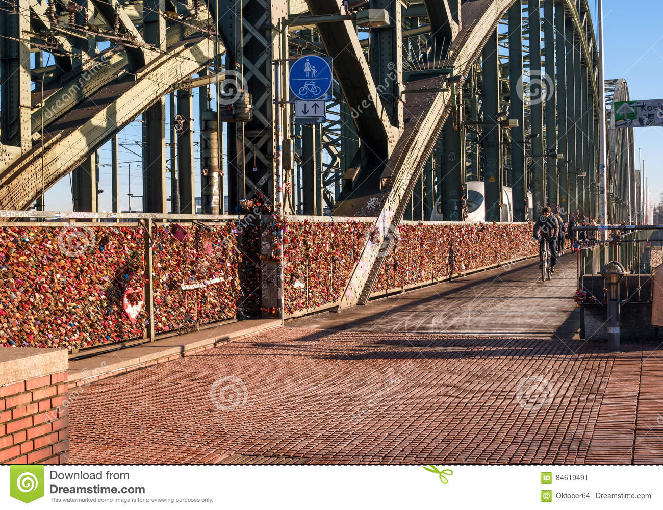 Cologne, Germany - January 19, 2017: Locks of love on the fence of the Hohenzollern Bridge.