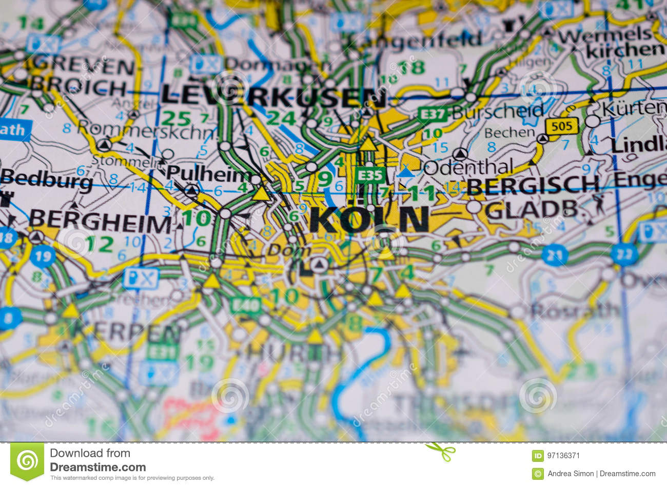 Cologne On Map Of Germany.Cologne On Map Stock Image Image Of Transport Street 97136371