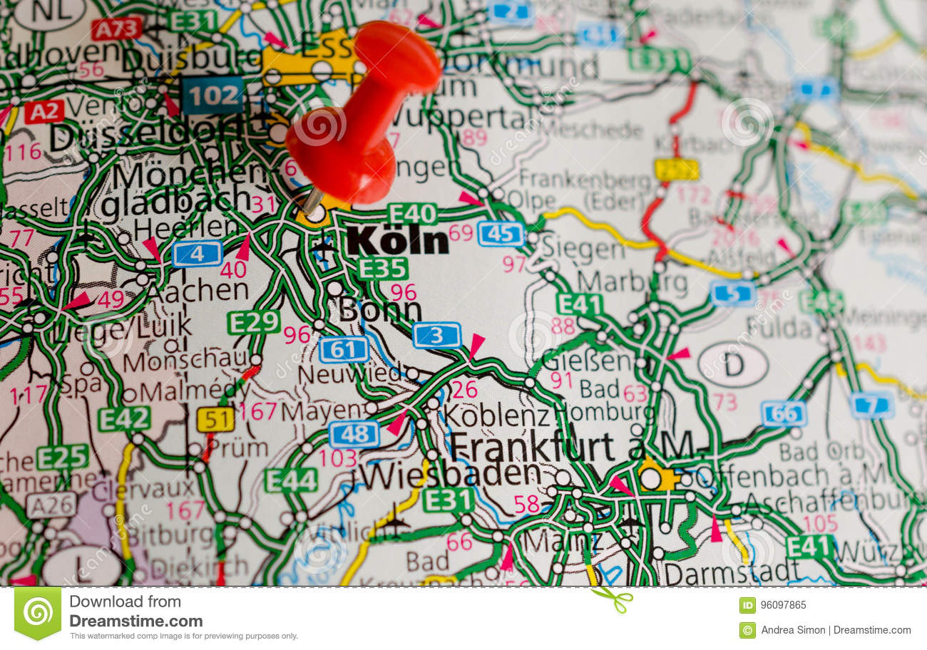 Map Of Germany Showing Cologne.Cologne On Map Stock Image Image Of Germany Shot Rhein 96097865