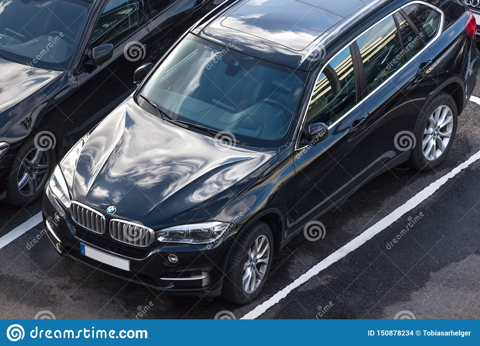 Bmw car from above in cologne germany