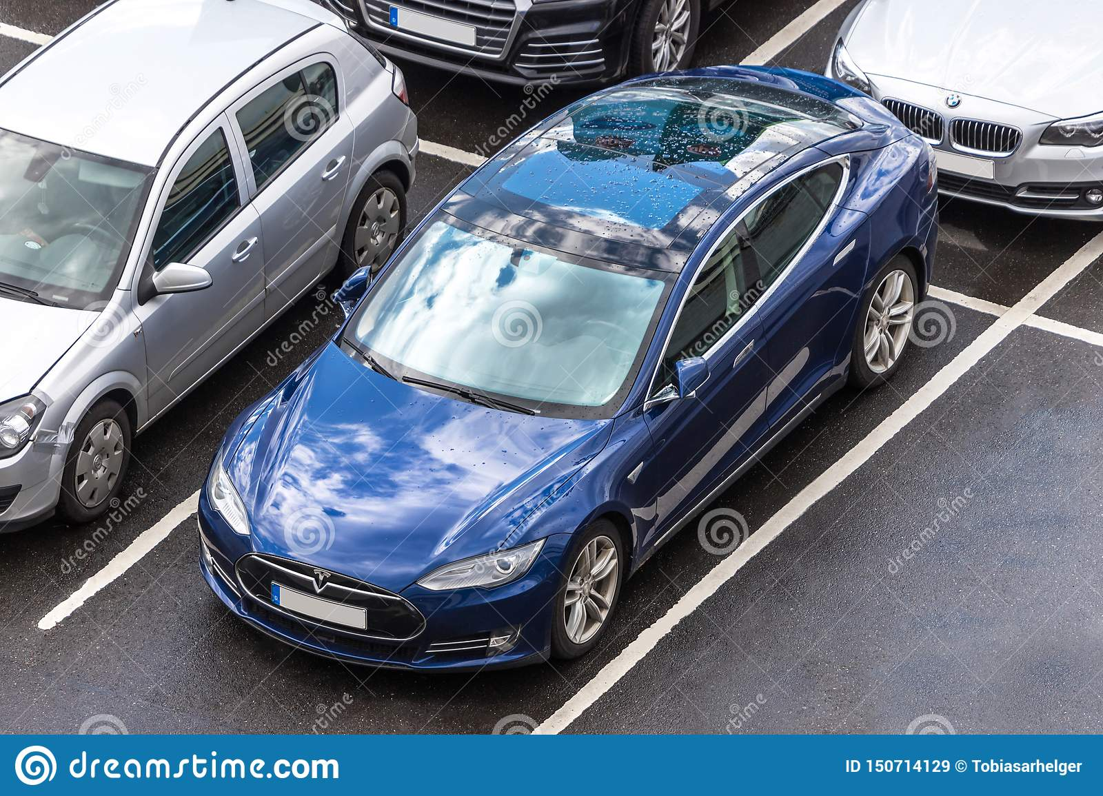 Tesla car from above in cologne germany