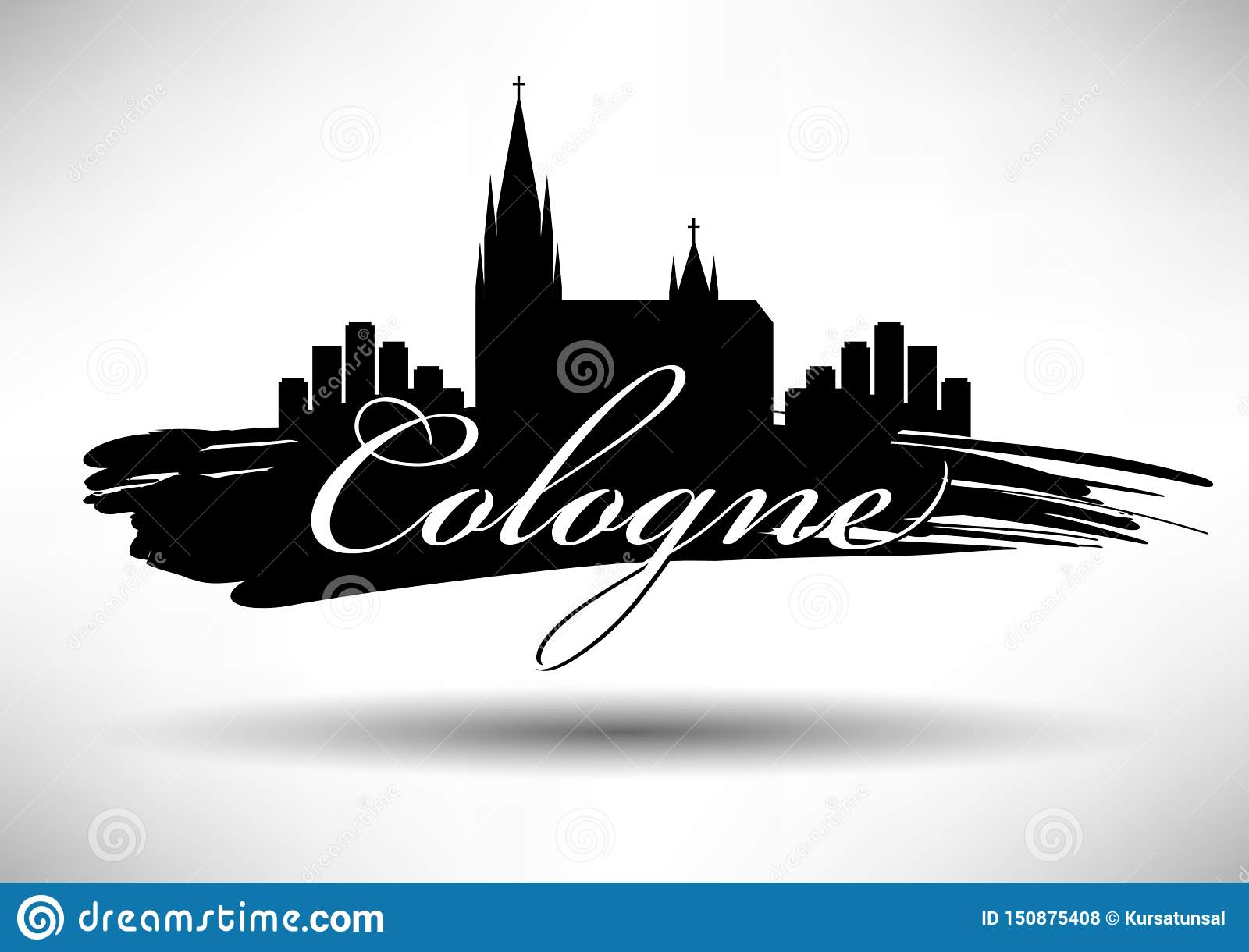 Cologne Skyline with Typographic Design