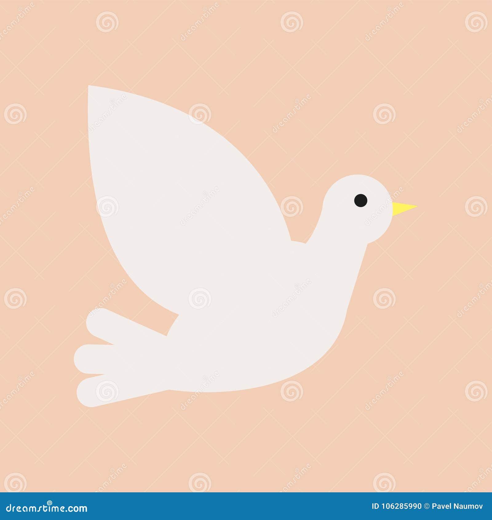 Colomba cristiana di bianco Simbolo dello Spirito Santo e della pace Icona piana isolata di vettore Elemento di progettazione per