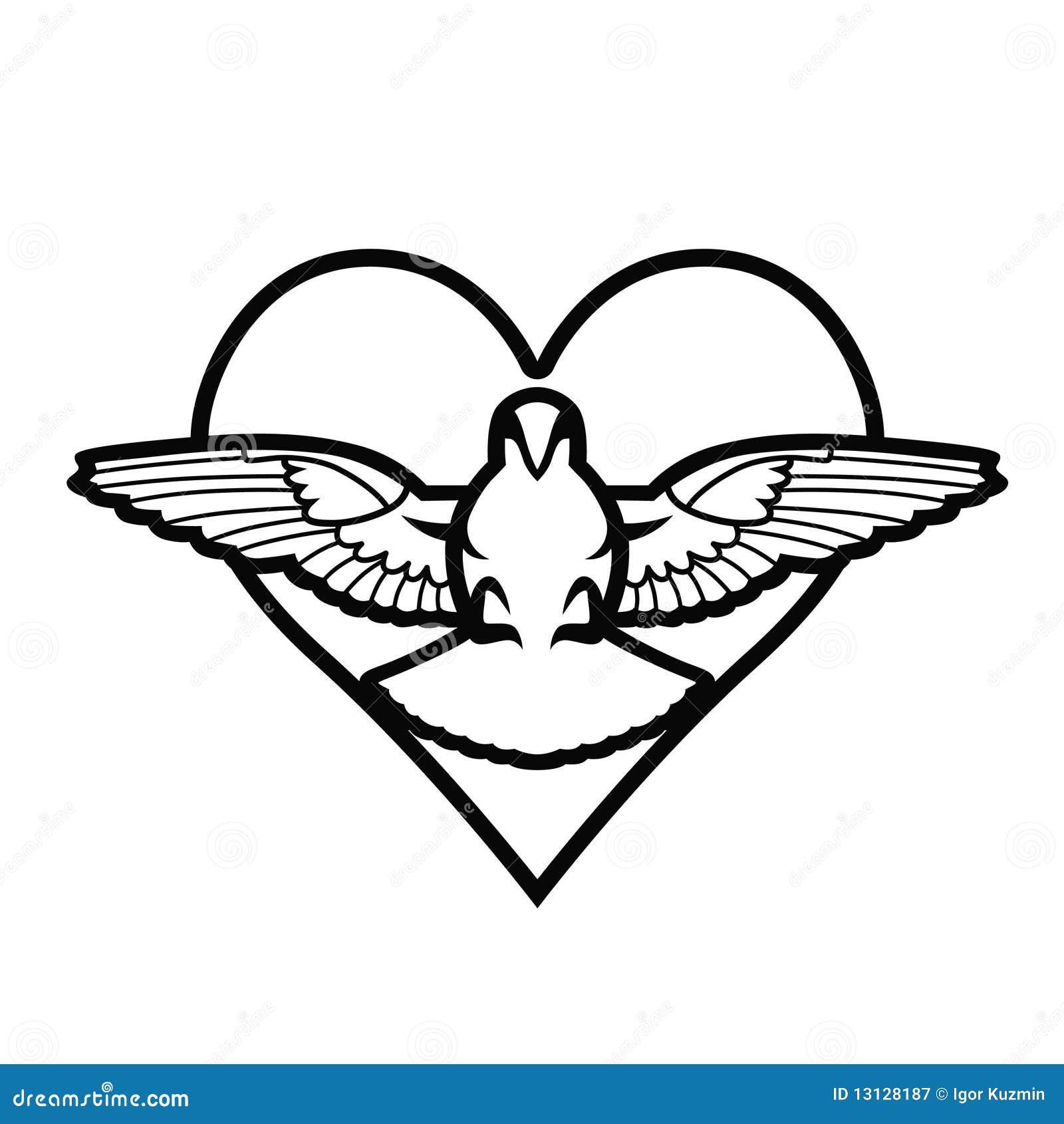 Colombe coeur tatouage photographie stock libre de droits image 13128187 - Image tatouage coeur ...