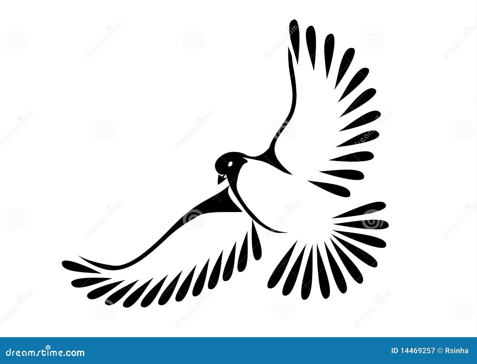 Colombe ou oiseau en vol illustration de vecteur - Dessin oiseau en vol ...