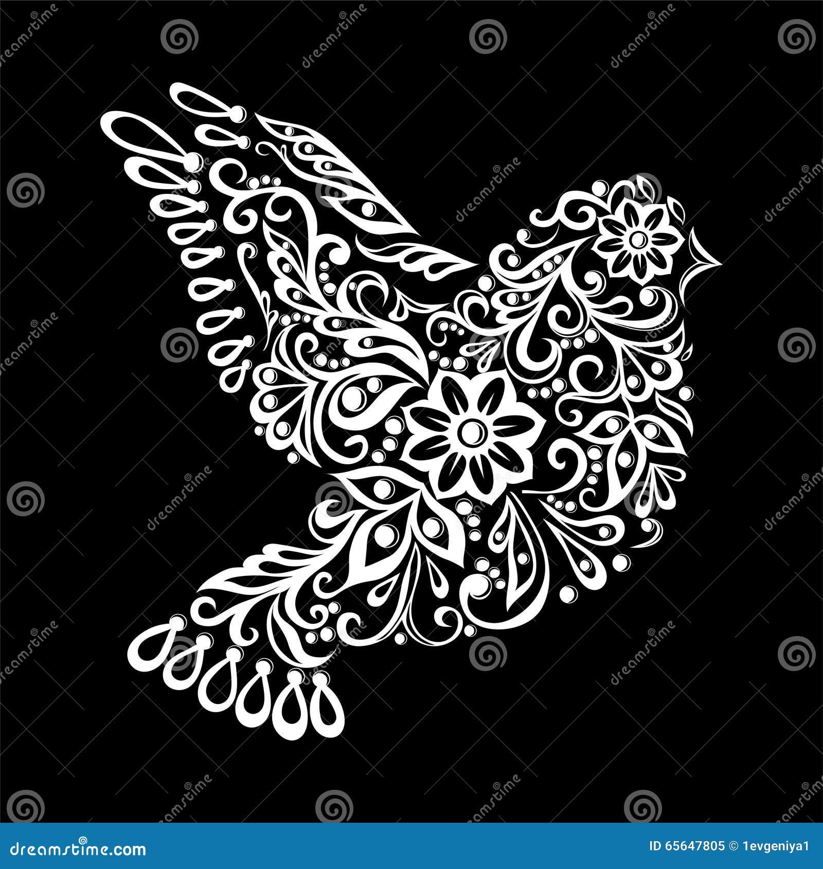 Colombe stylisée par Zentangle noire et blanche Croquis de vintage pour le tatouage