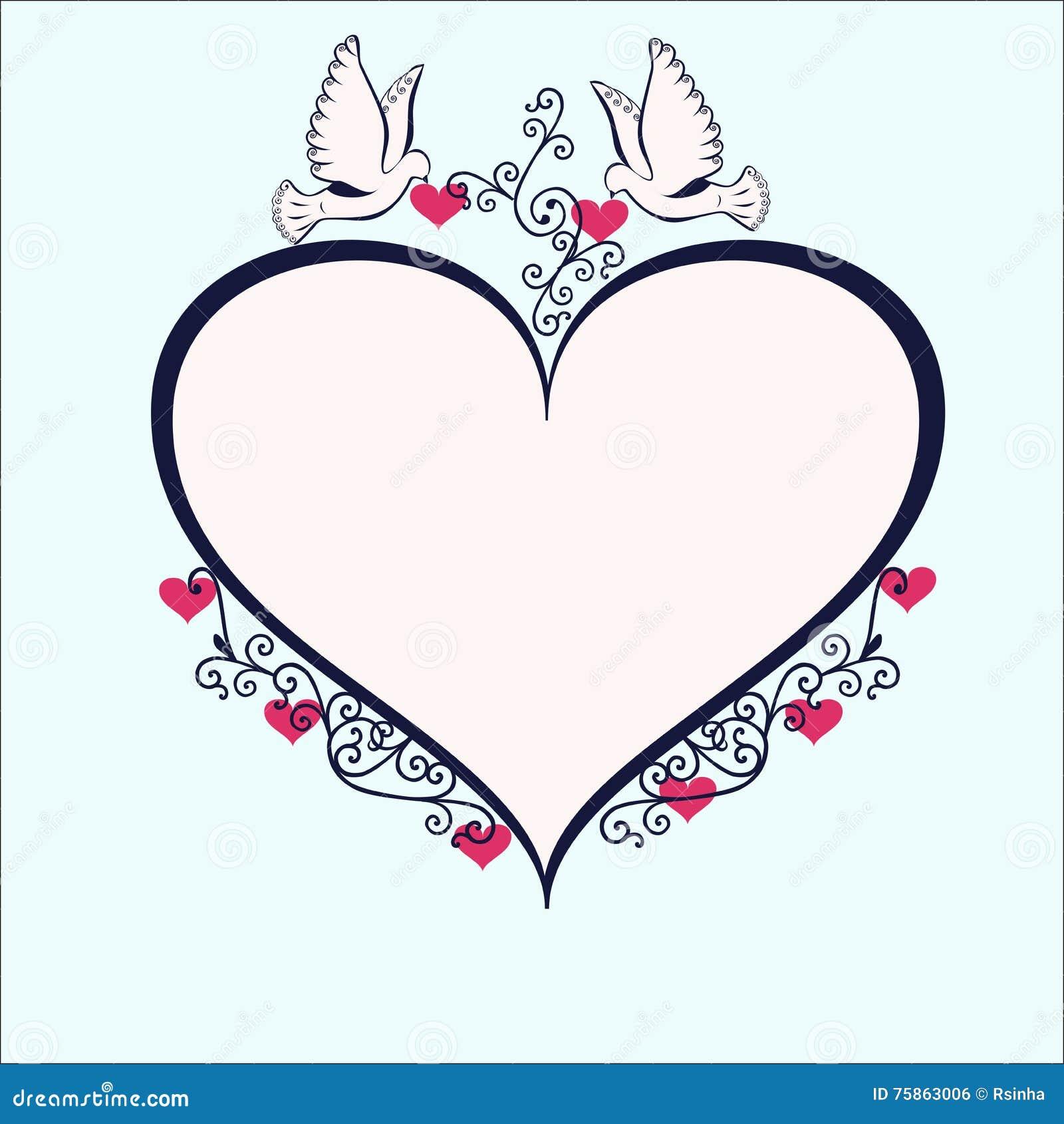 Image Avec Des Coeur colombes avec le cadre en forme de coeur illustration de vecteur