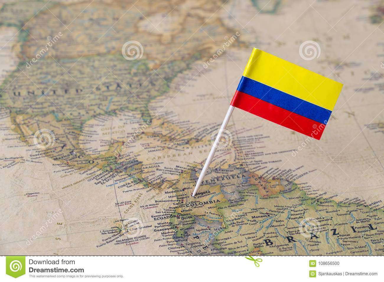 Colombia Flag Pin On World Map Stock Photo - Image of economic ...