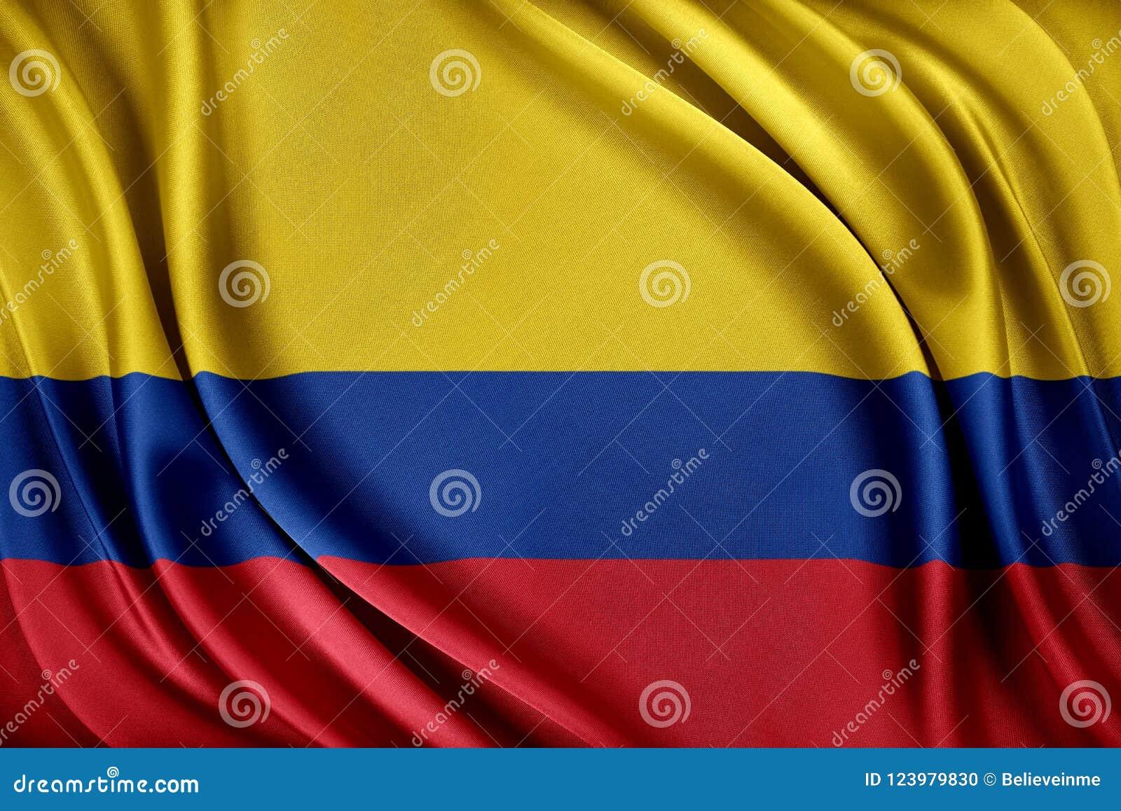 Colombia flagga Flagga med en glansig siden- textur