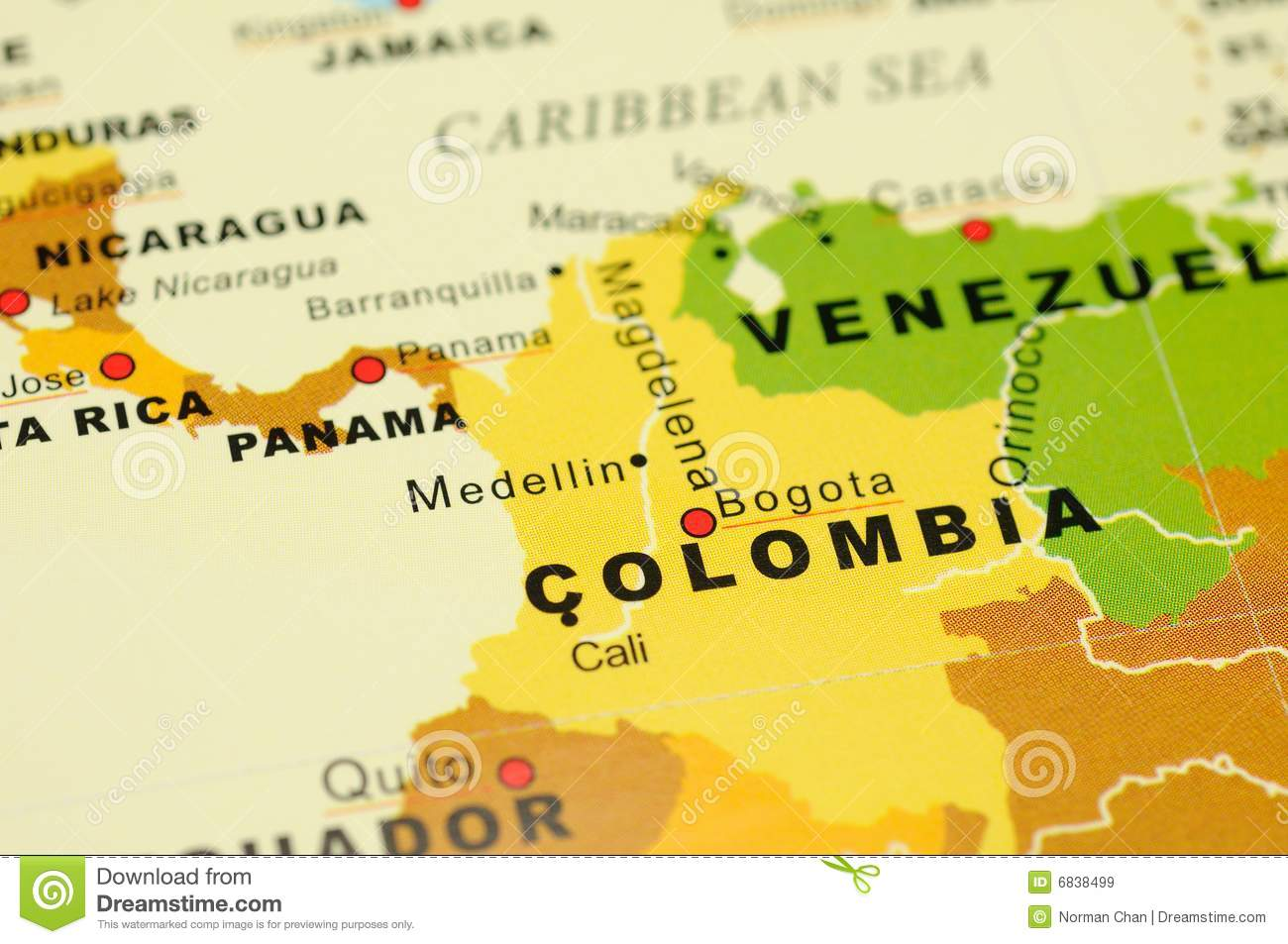 Colombia on map stock image. Image of closeup, bogota - 6838499