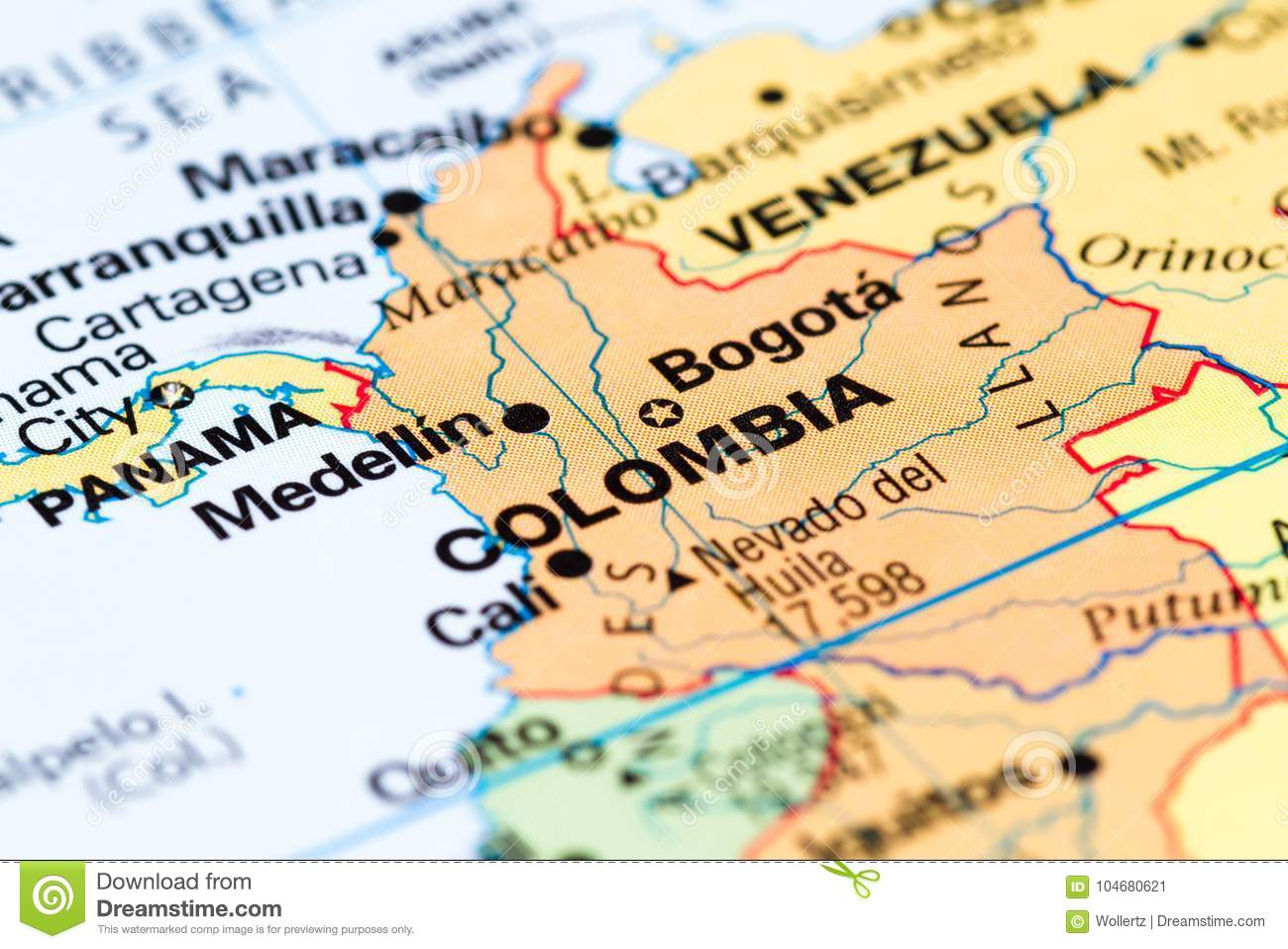 Colombia on a map stock image. Image of color, explore - 104680621