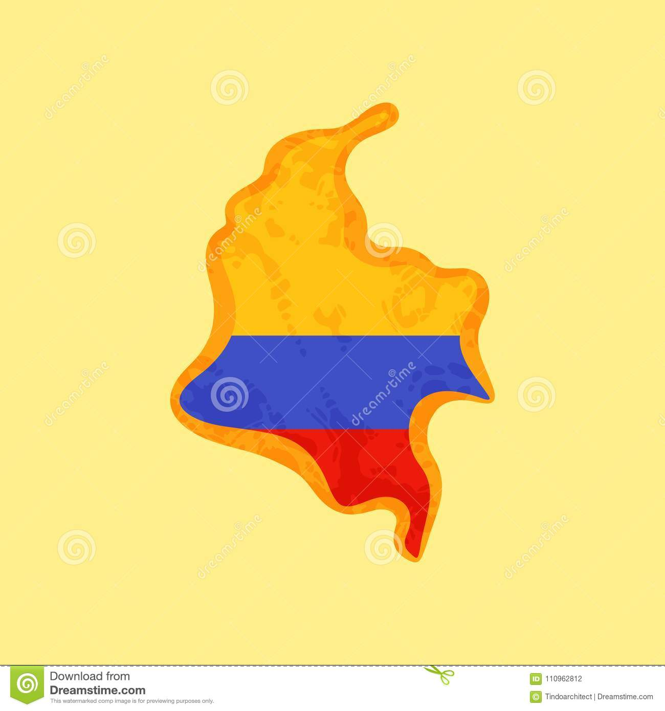 colombia map colored with colombian flag stock vector