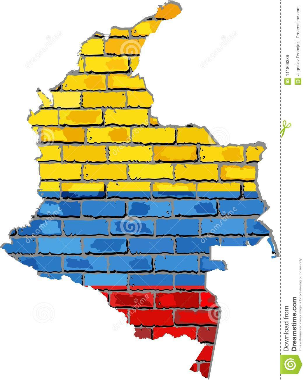 Colombia Map On A Brick Wall Stock Vector - Illustration of ...