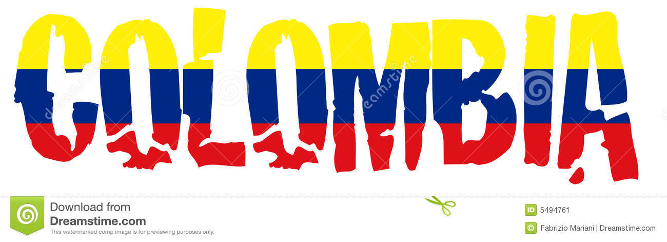 Colombia Name With Flag Stock Image Image 5494761