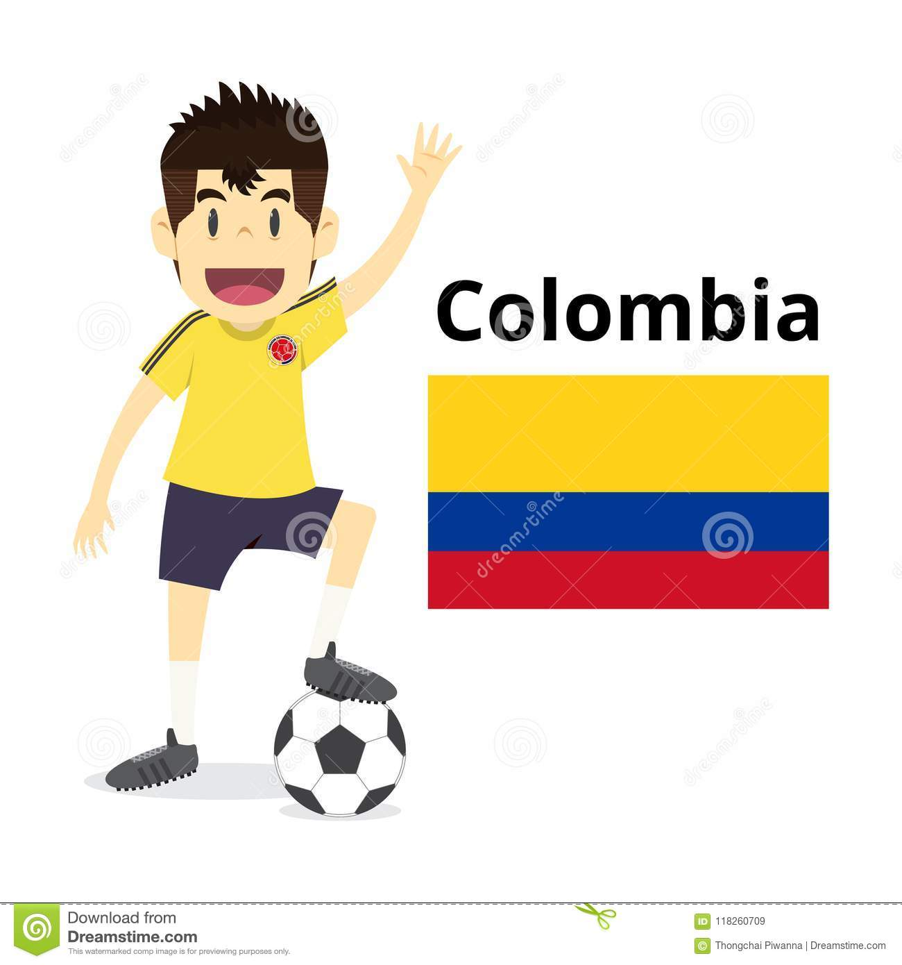 Royalty-Free Vector. Colombia nation team cartoon a19d27bce