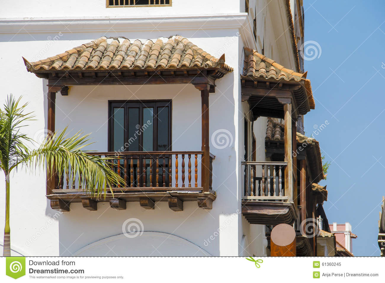 Colombian balconies stock photo image 61360245 for Balcony in spanish
