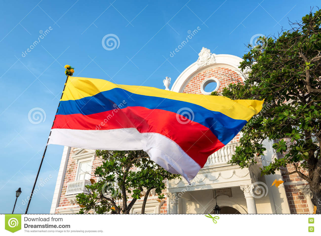 Colombian Flag In Cartagena Stock Image Image Of Cityscape Blue