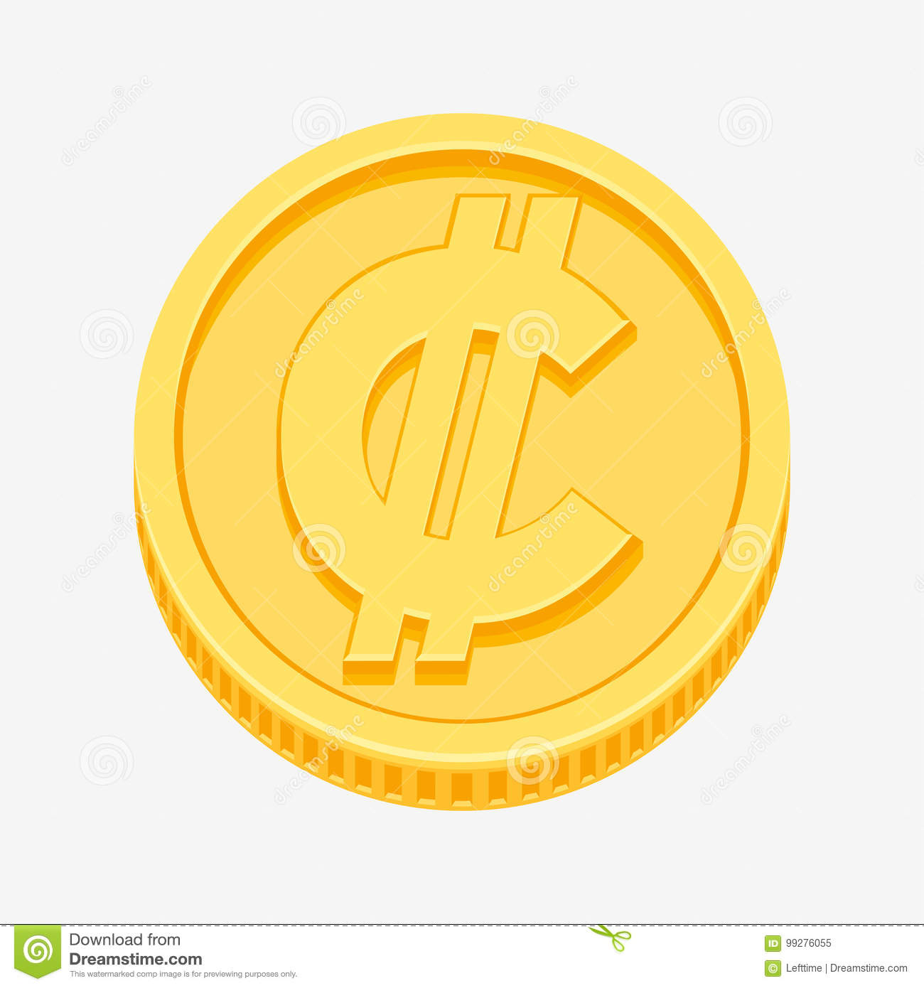 Colon Currency Symbol On Gold Coin Stock Vector Illustration Of