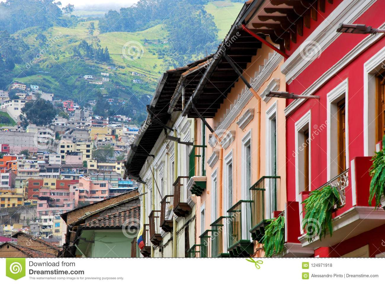 Colonial Architecture And Green Mountains In Quito Ecuador Stock