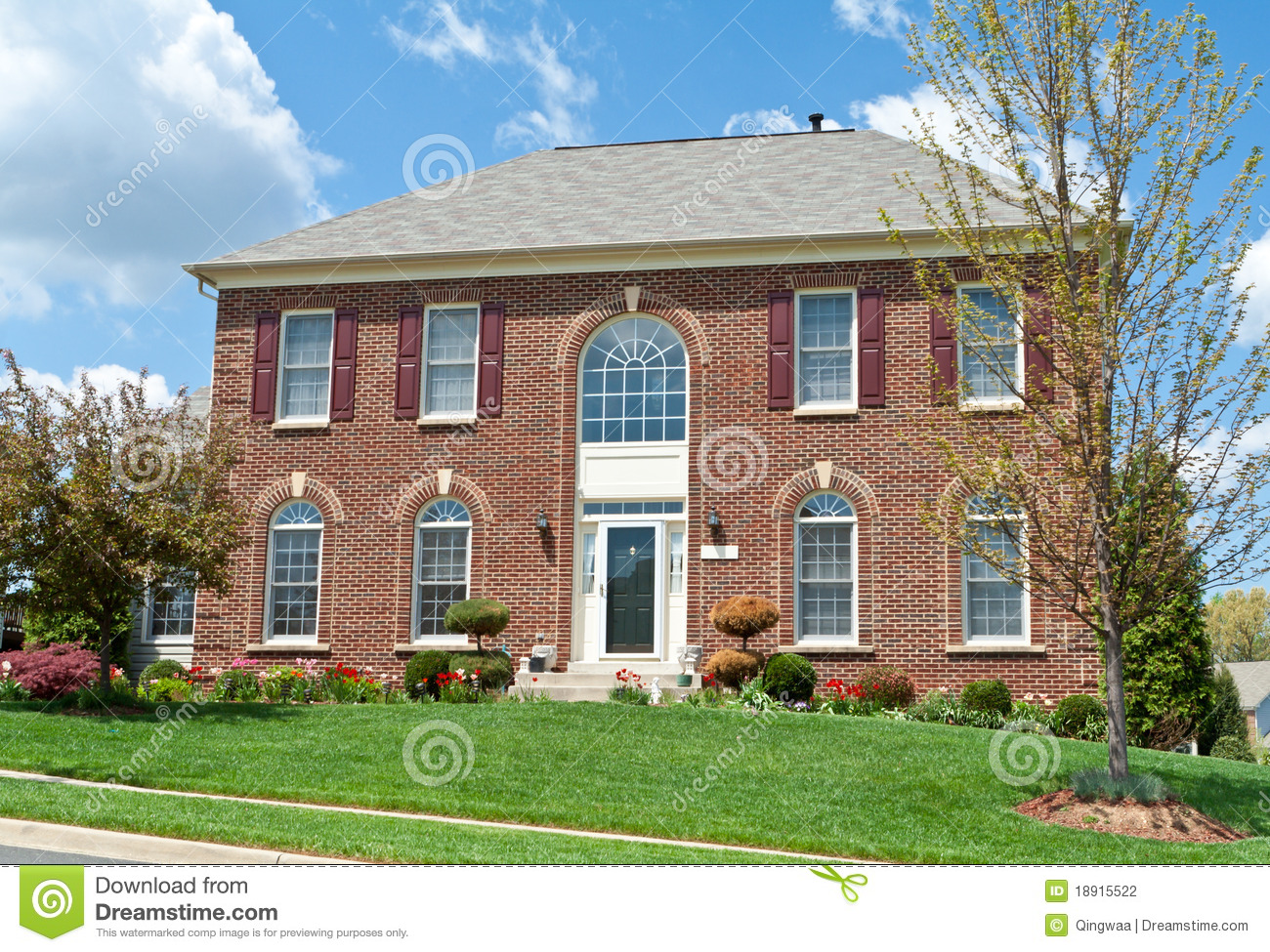 Colonial Brick Single Family House Home MD USA Stock Photo
