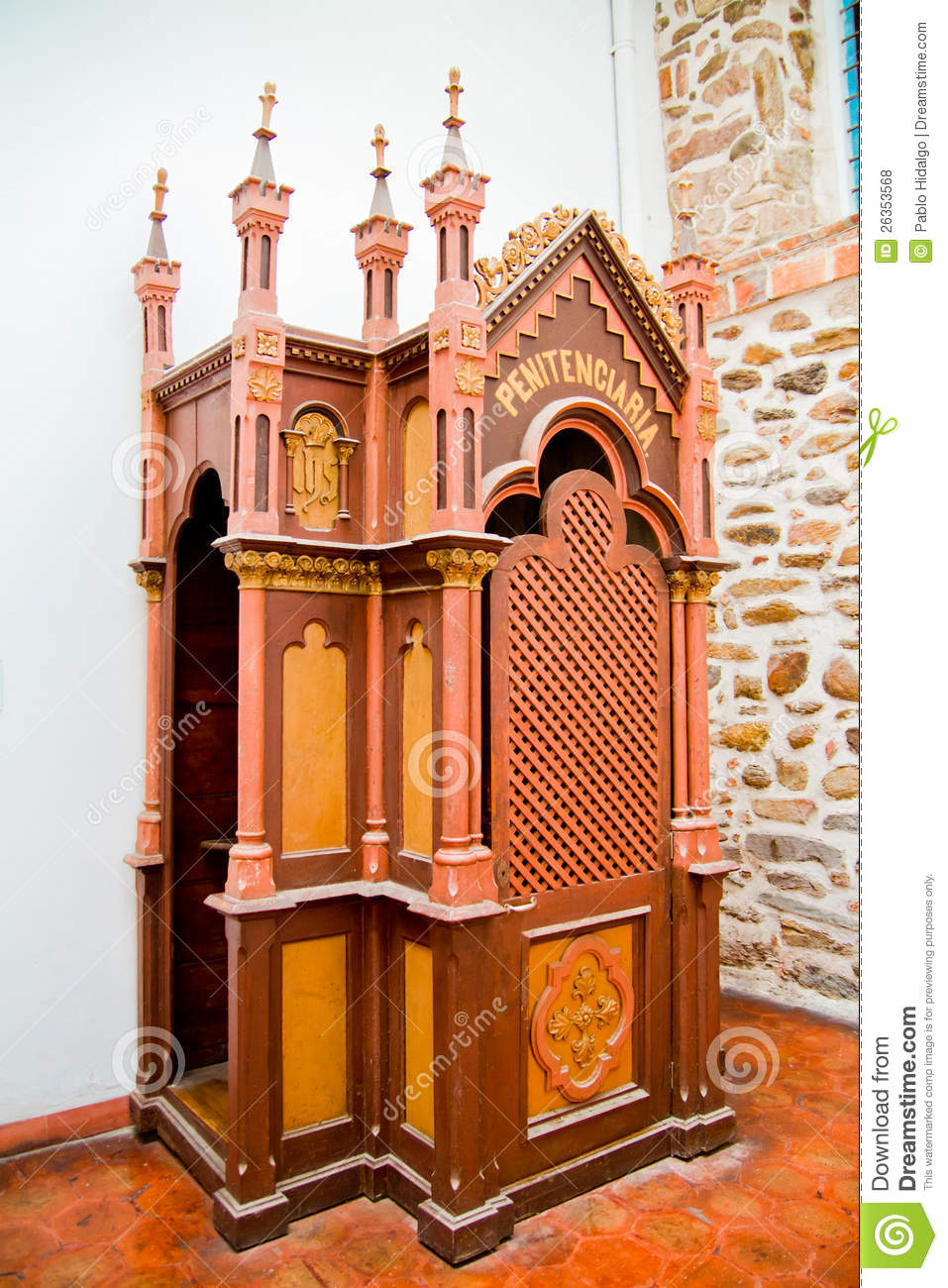 Colonial Confessional At A Christian Church Royalty Free