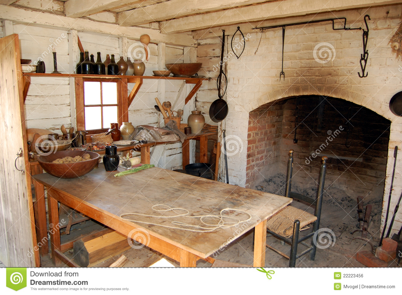 Colonial Era Kitchen Stock Photo Image Of Roof Museum