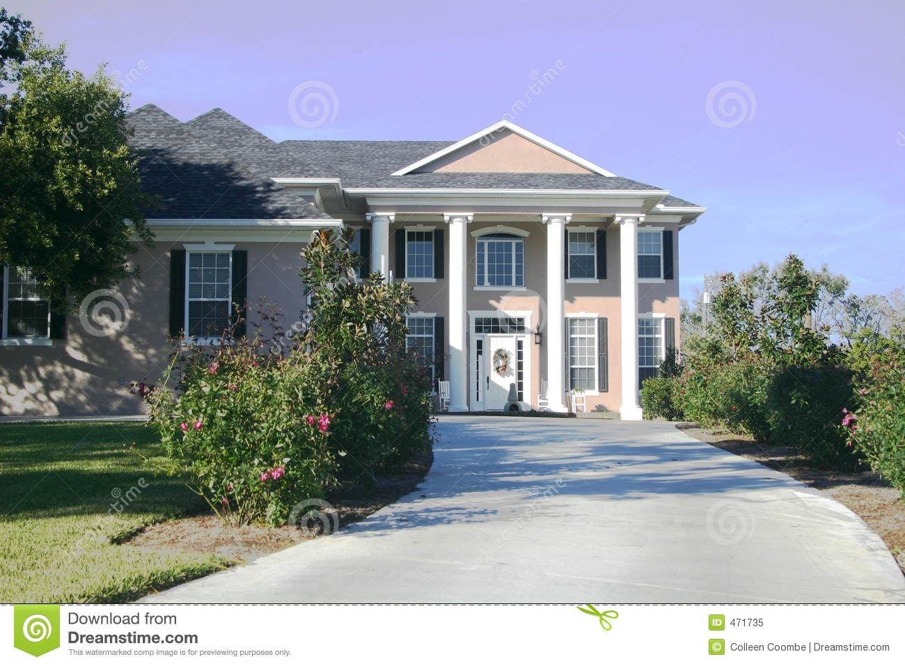 Download Colonial Home stock image. Image of landscaping, foliage - 471735