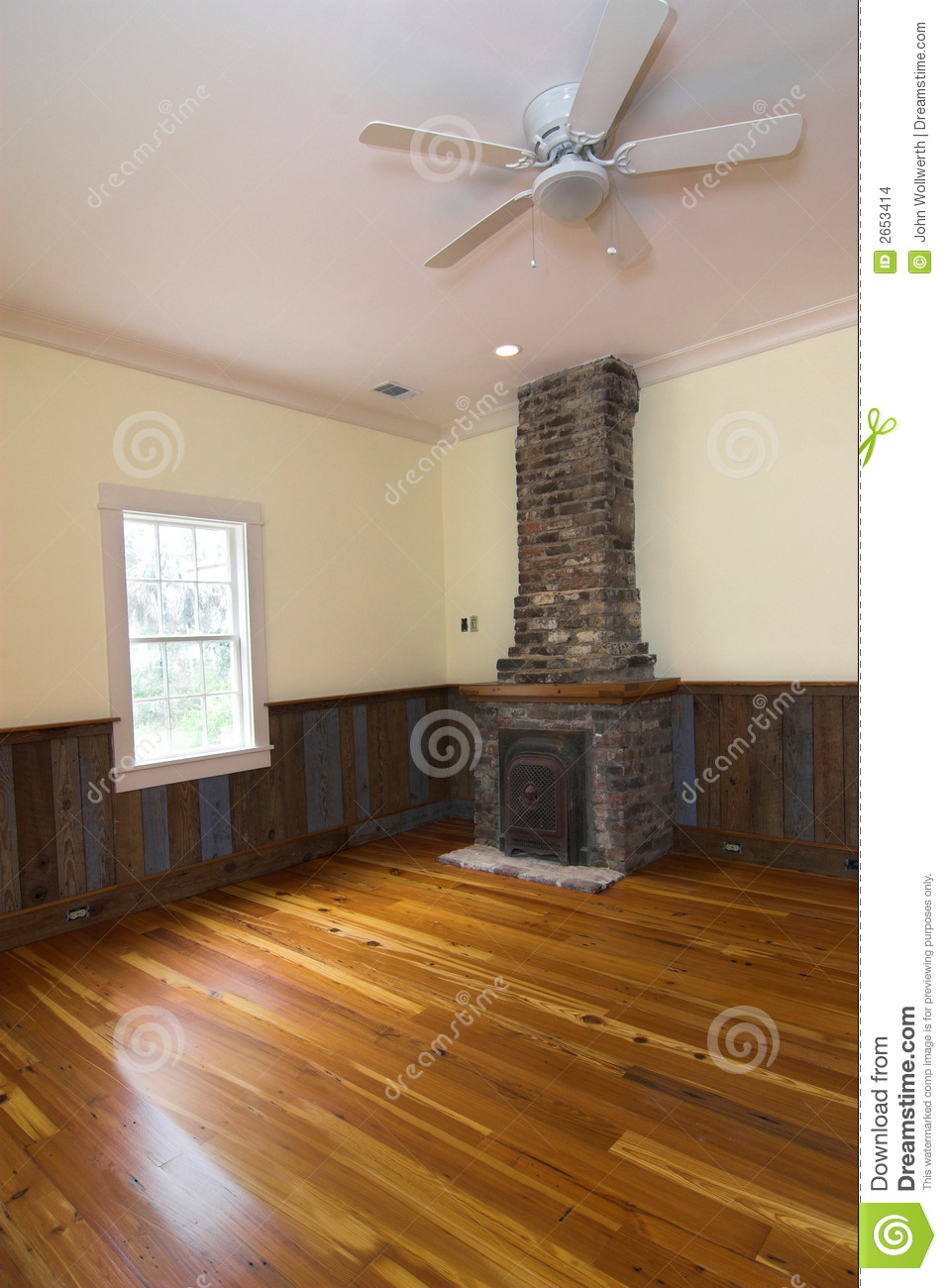 Colonial House With Original Fireplace Restored Interior Shot