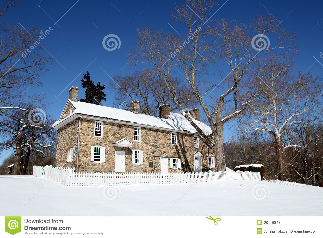 Colonial Home - Washington Crossing State Park, PA Stock ...