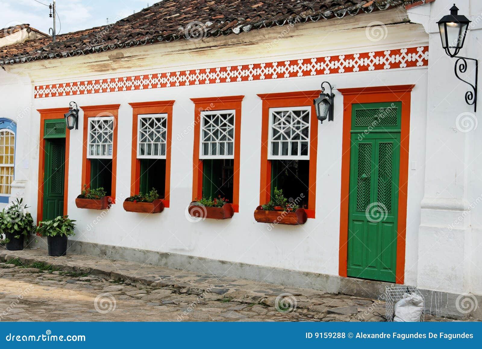 Colonial House Paraty Rio De Janeiro Brazil Stock Photo