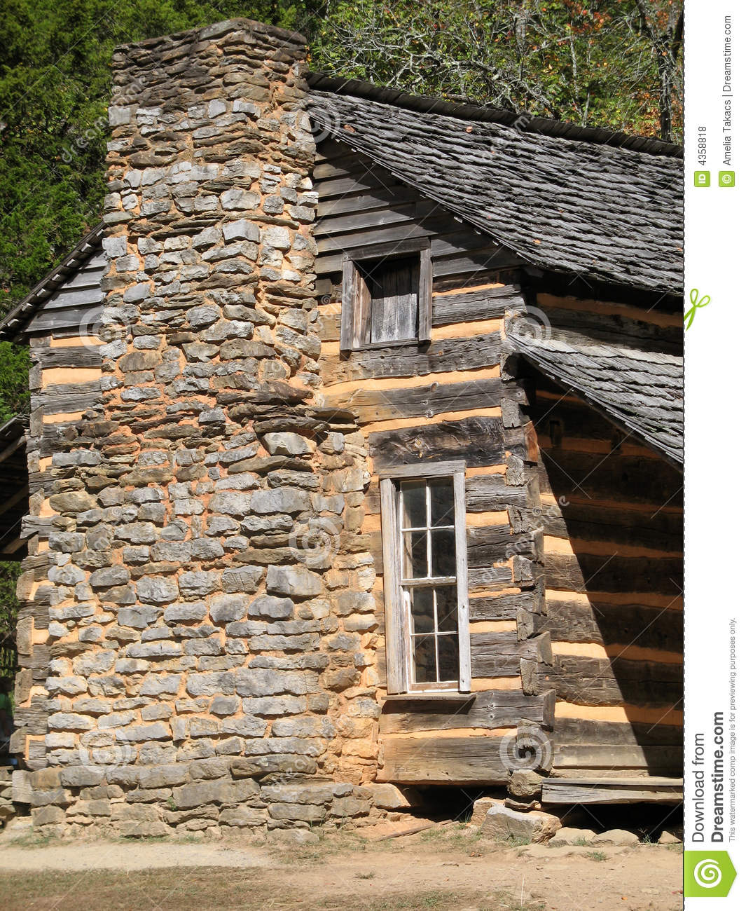 Colonial log cabin great smoky mountains nationa royalty for Colonial log homes