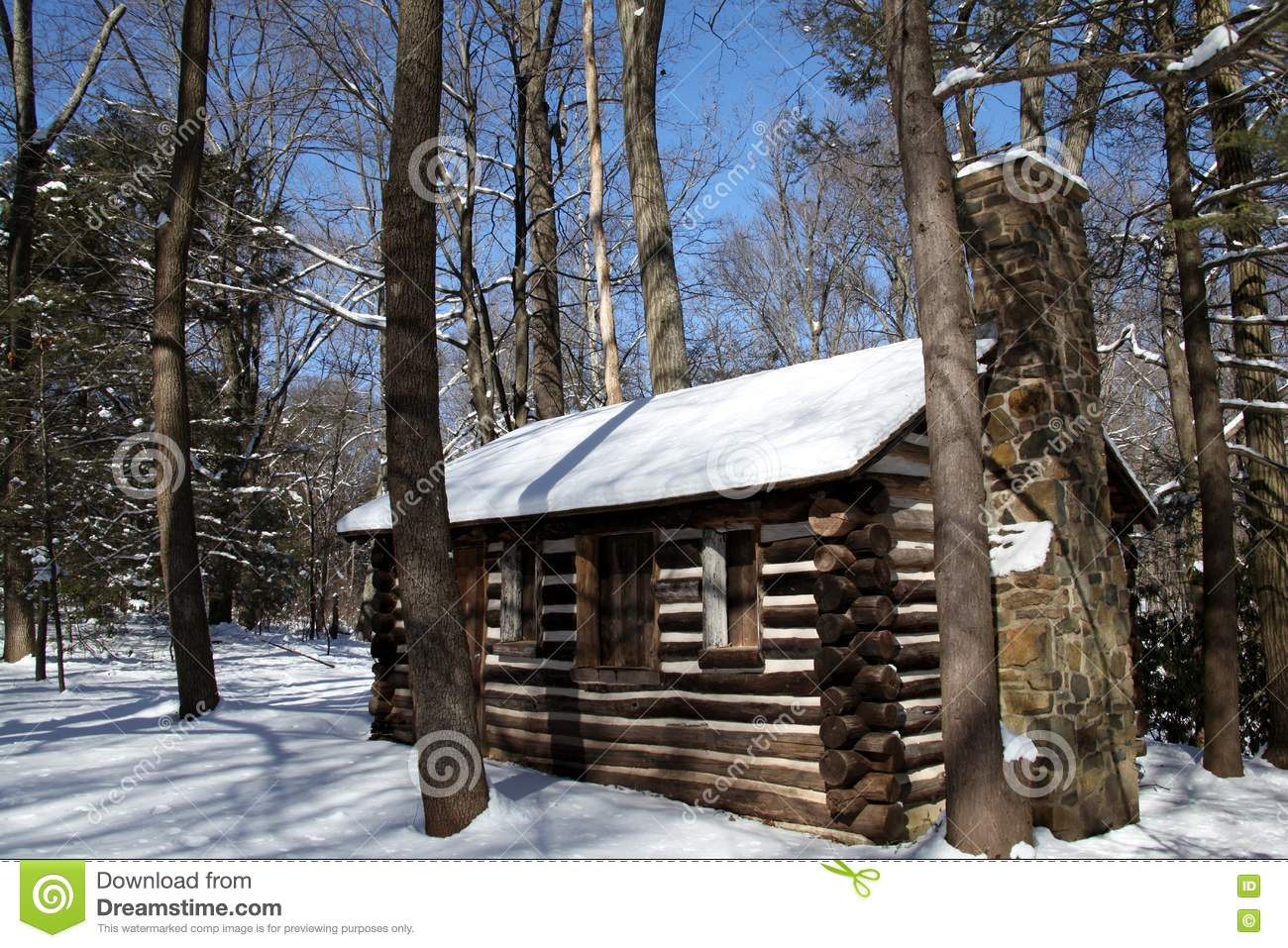 Colonial log cabin in snow stock image image of america for Colonial log homes