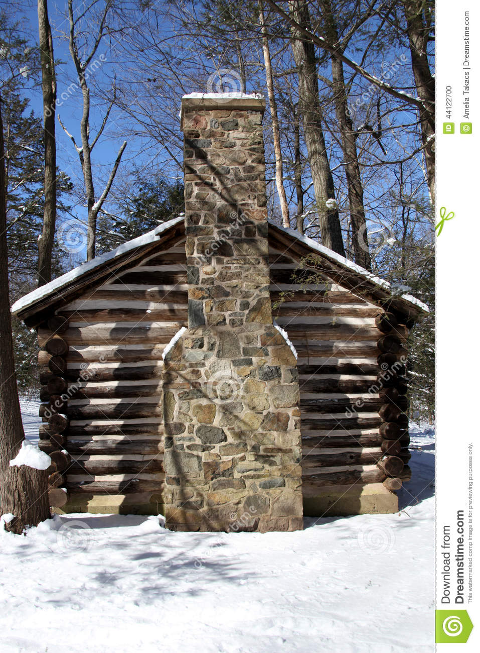 Colonial log cabin in snow stock photo image 44122700 for Colonial log homes