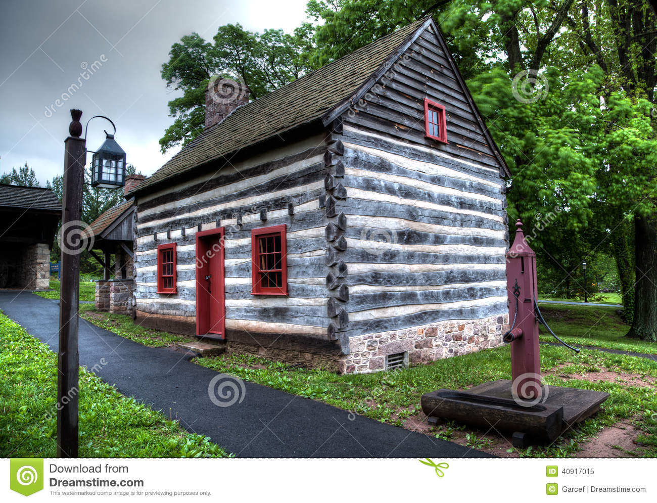 Colonial Log House Stock Photo Image 40917015