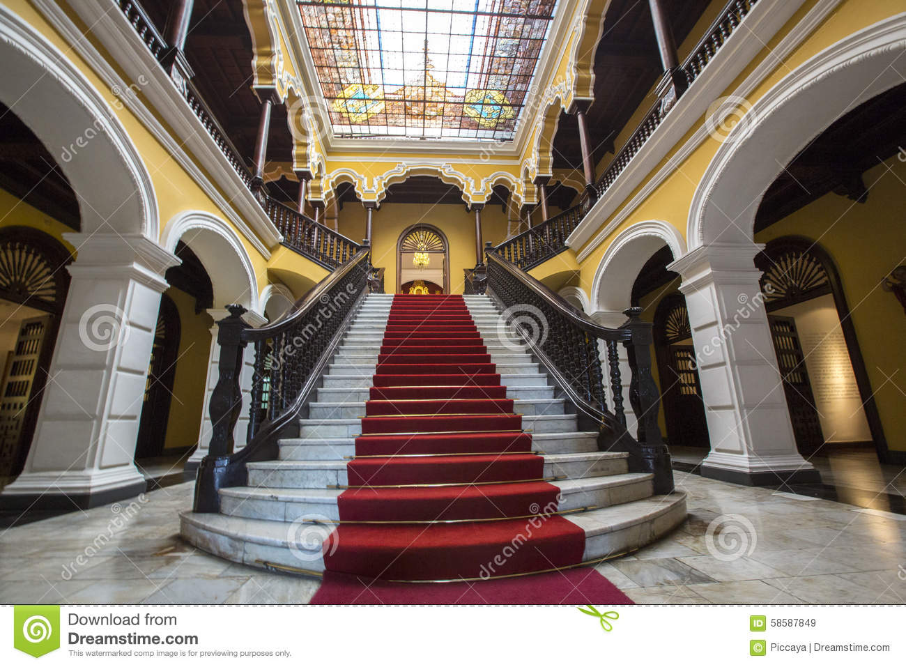 Colonial staircase at Archbishop s Palace in Lima, Peru
