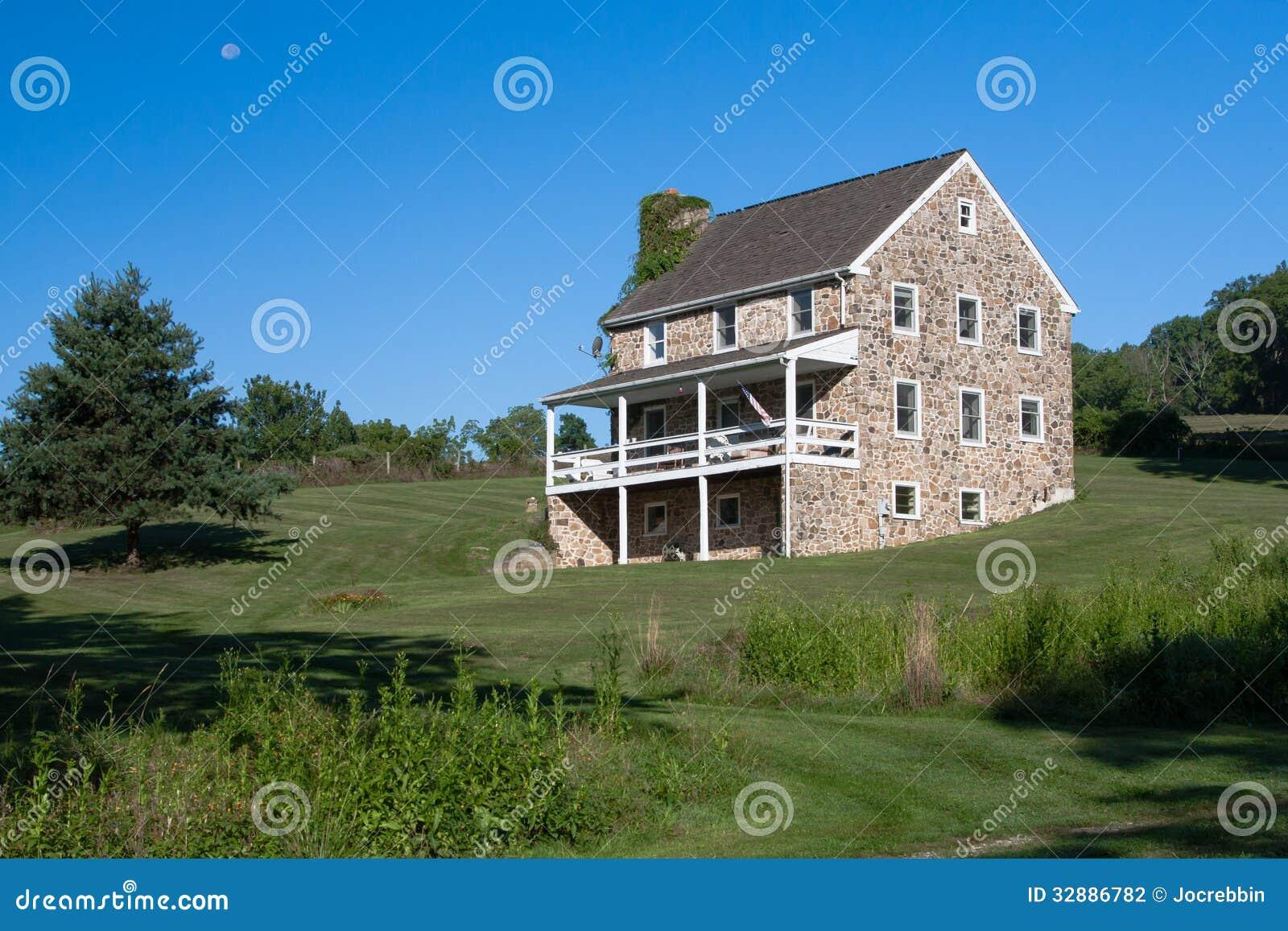 Colonial Stone Three Story Farm House