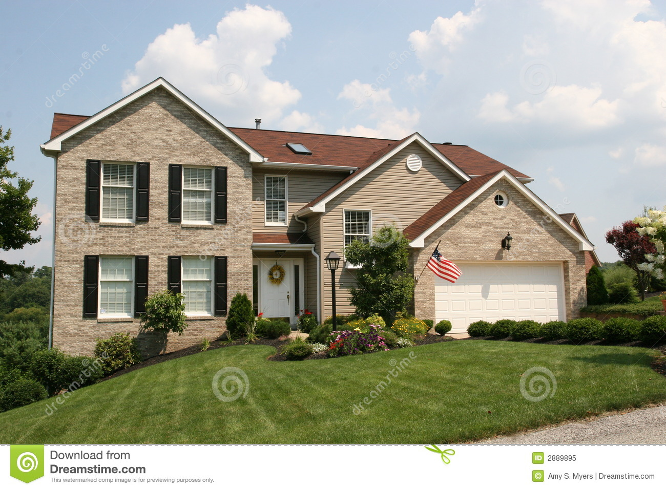 Colonial style two story home royalty free stock photo for 2 story house styles
