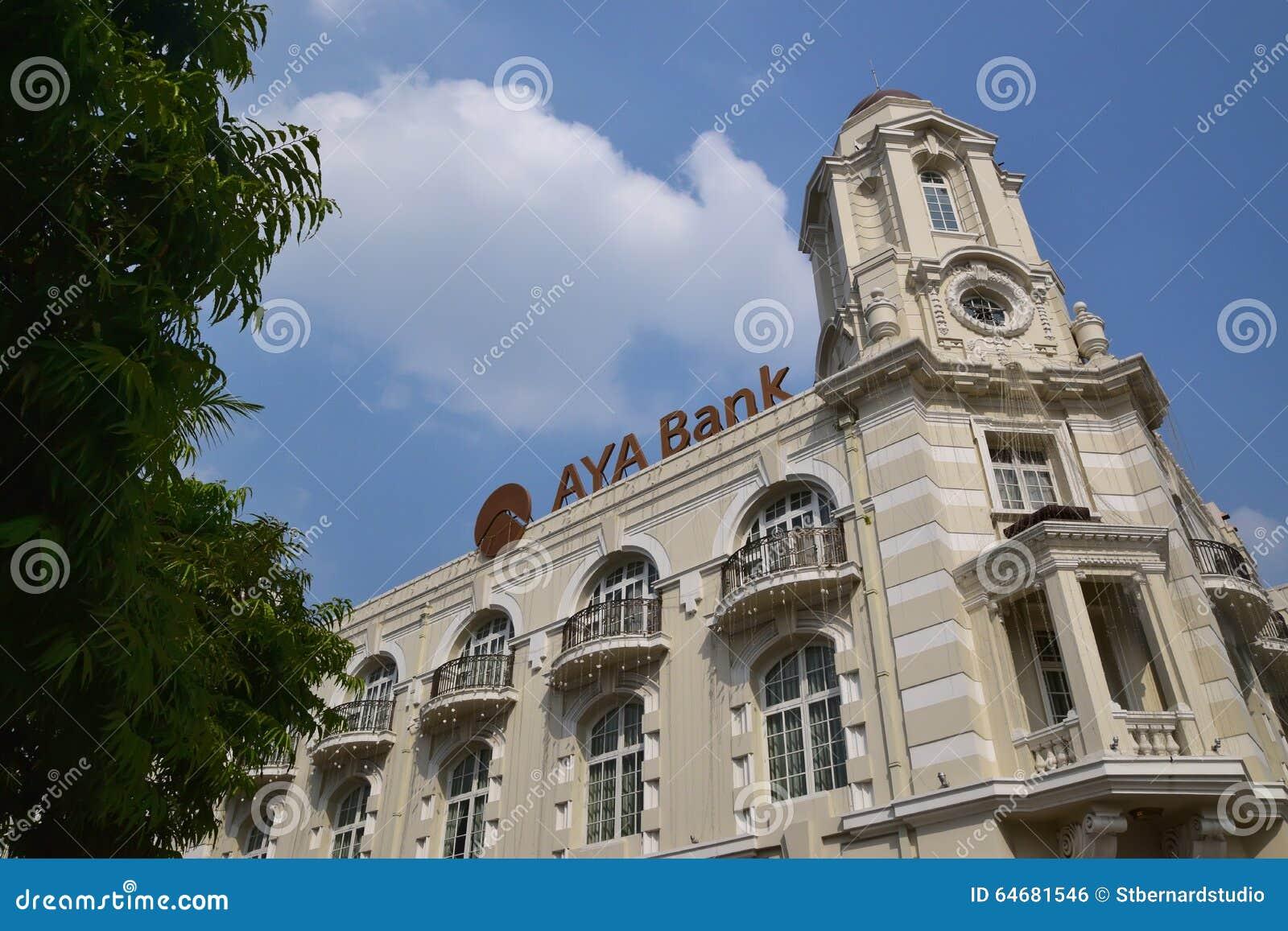 Colonial Styled Building Of Aya Bank In Yangon Myanmar