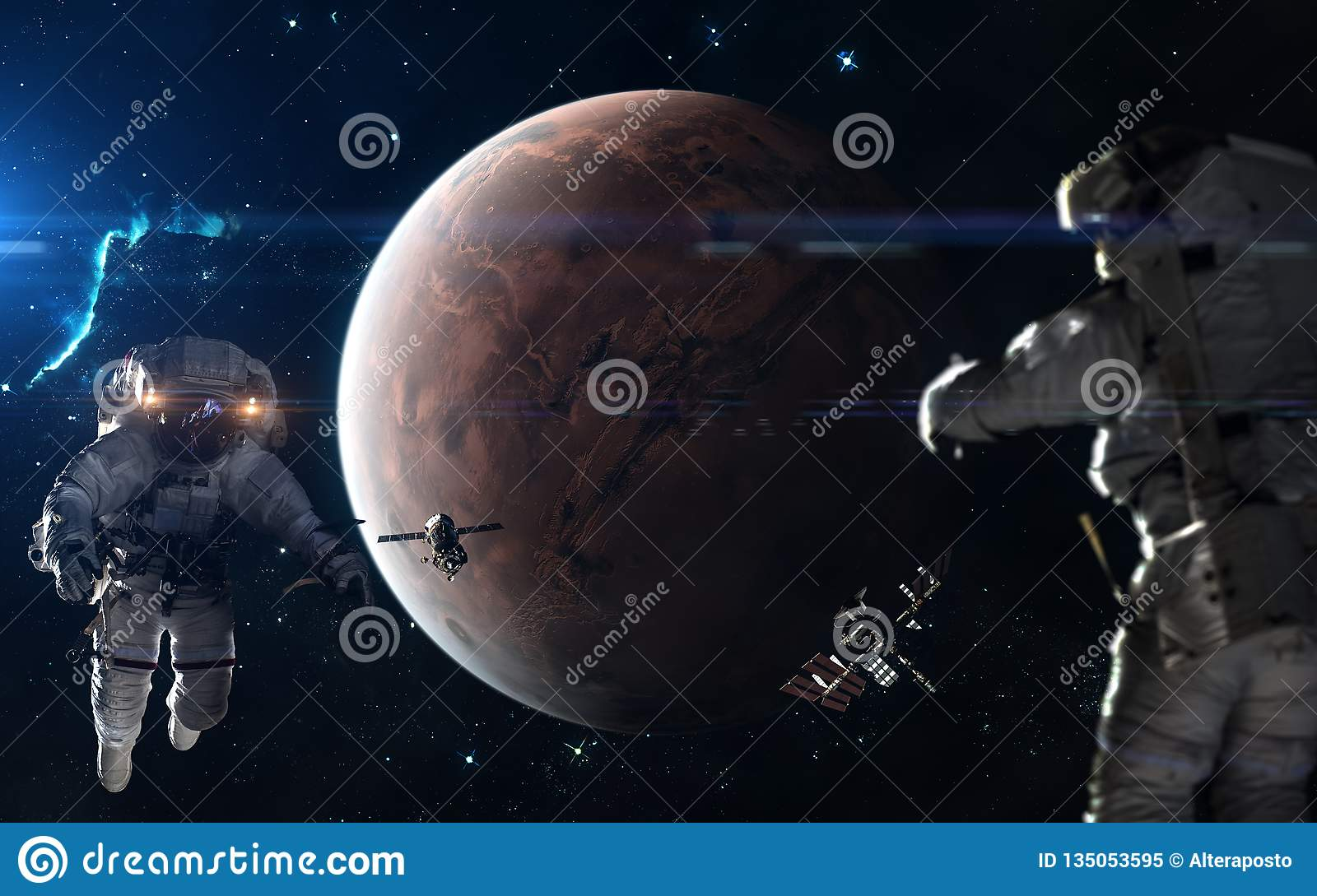 Colonization Of Mars Astronauts Space Stations In Mars Orbit Science Fiction Art Elements Of The Image Were Furnished By Nasa Stock Image Image Of Glint Mars 135053595